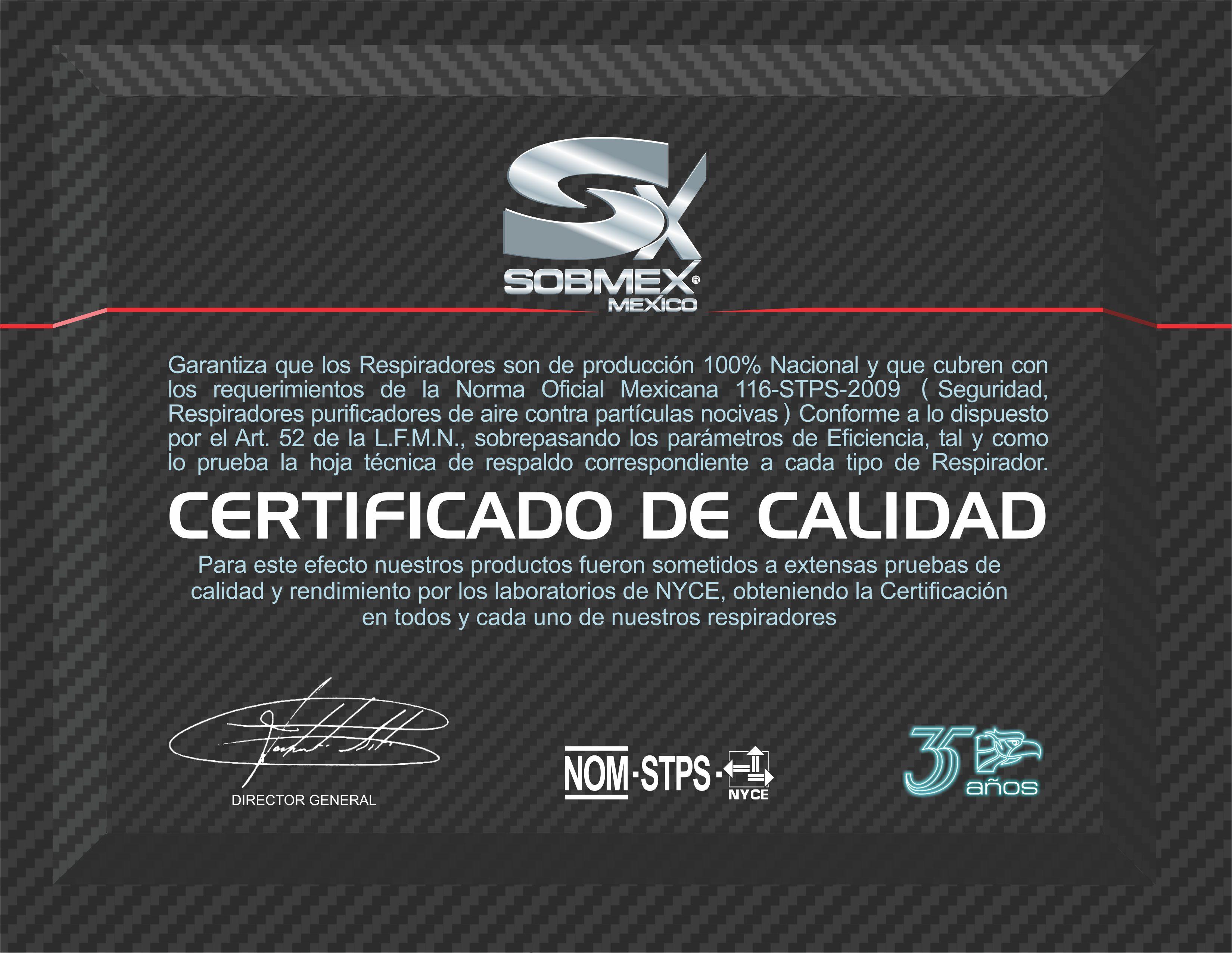 Certificado de Calidad 002
